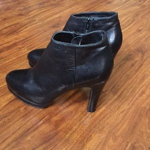 Black luxury leather ankle boots.